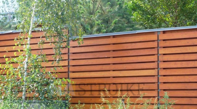 Горизонтальный деревянный забор своими руками